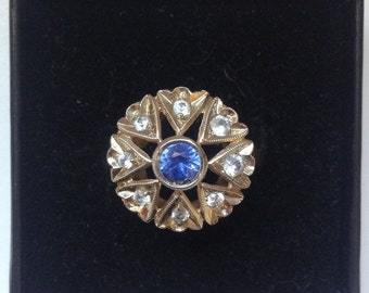 Vintage  14K Gold Blue Sapphire Ring  Art Deco Cocktail Ring Star and Leaves Shape