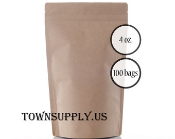 100 - 4 oz. Kraft stand up pouches, food safe packaging, resealable zip pouch, recloseable package, ziplock coffee bags, tea shop supply