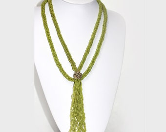 Very LONG VINTAGE  Green Glass Seed Bead Necklace with Tassel
