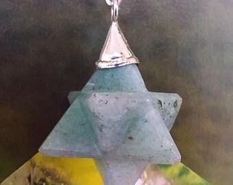GREEN AVENTURINE Crystal MERKABA Pendant with Silver Top, Sacred Geometry Merkaba Necklace, With Hemp Chain