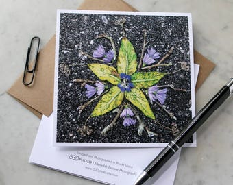 Green Tomato Leaf Mandala ~ One 5x5 Square Note Card (with envelope, blank inside, no message)
