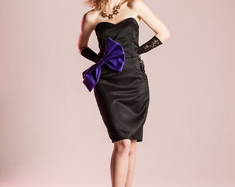 Black strapless dress Purple bow dress 80s style dress 80s cocktail dress Black wiggle dress