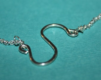 Necklace, Sterling Silver  Sideway S Hammered Pendant Necklace, with Sterling Silver  Lobster Claw Clasp