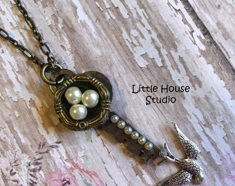 Bird Nest Key Pendant, Bird Nest Necklace, Bird Nest, Vintage Key Necklace, Statement Necklace, Mothers Day, Pendants, Pearl Eggs