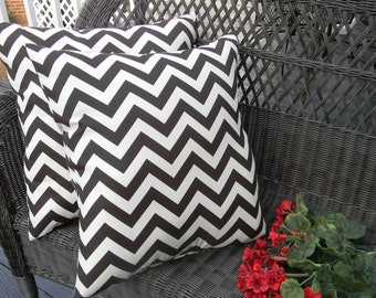 """Set of 2- 17"""" x 17"""" Brown and Ivory Zig Zag Chevron Decorative Square Throw Toss Pillows"""