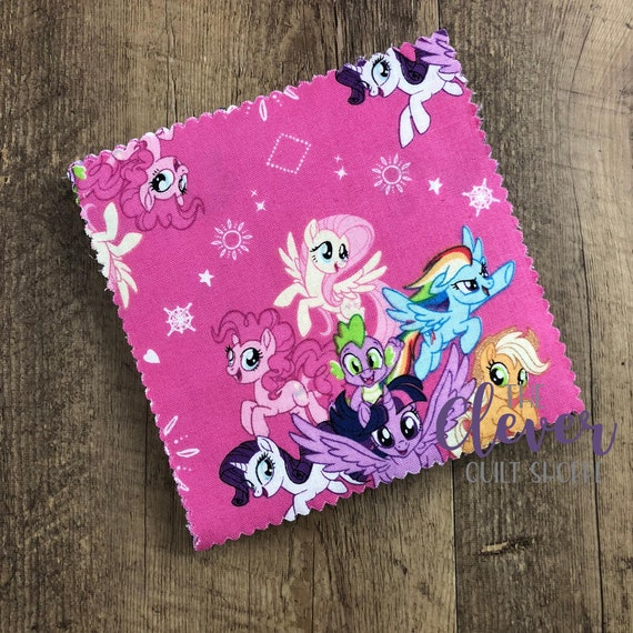 Charm Pack Squares, My Little Pony, Camelot, Girls, Kids, Horses, Ponies, Pink, Blue, Purple, Quilting Fabric, Precut Fabric,