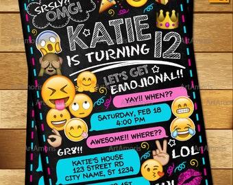 Emoji Invitation, Emoji Birthday Invitations, Teen Birthday Invitation, Girls Teen Invitation, Emoji Invites R-162
