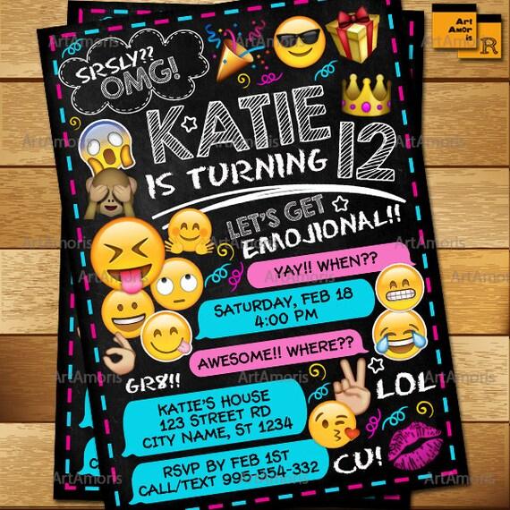 Invitación Emoji Emoji Cumpleaños Invitaciones Invitación De
