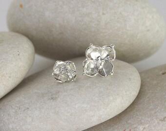 Succulent Flower Earrings in Sterling Silver