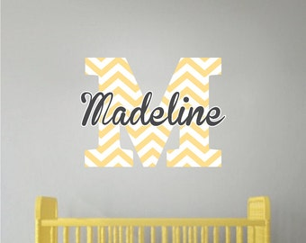 Nursery and Kids Custom Name Initial Bedroom Decal Sticker, Chervron Personalized Bedroom Monogram Nursery Kids Bedroom Name Wall Decal, n01