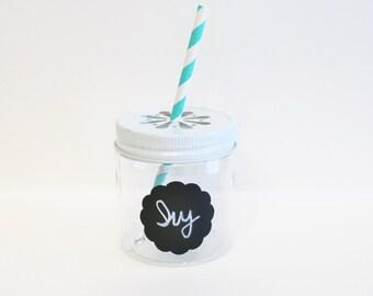 10 Plastic Mason Jars, White Daisy Lids Plastic Jar Cups COLORED Daisy Cut Lids, Plastic Glasses, Table Setting Kids Party Cup, Wedding