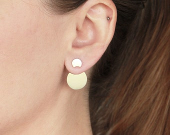 Lunar Ear Jackets, Moon Phase, Silver Moon Ear Jackets Pair, Solar Eclipse, Crescent Moon Ear Jackets, Front Back Double Earrings, celestial