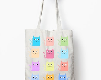 Cat tote bag, multicolor cat shopping bag, canvas tote bag, cat graphic