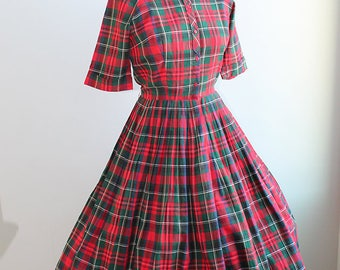 1950s Plaid Shirtwaist Dress New Look // Cos Cob // Small