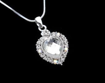 Crystal Heart Pendant Charm Necklace Silver Tone Clear Clear AB  With 10mm Heart Clear
