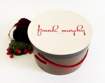 "Vintage 1950s Hat Box / Frank Murphy St. Paul, MN Couture Boutique Hat Box 11x7""h / Red Brown Boudoir Display Set Prop Storage"