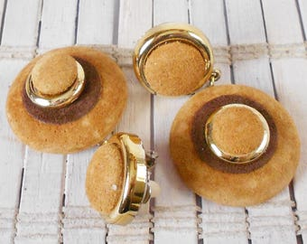 Vintage Super Funky Suede Earrings, Clip Ons, Tan and Brown, 1980's style, MOD, Layered Circles, Neutral colors, Fall Fashion, Sleek Chic