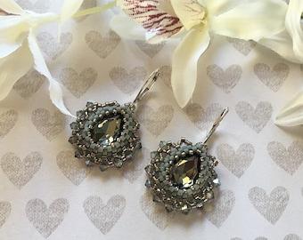 Gray crystal earrings Dangle earrings Seed bead earrings Statement earrings Simple earrings Lever back earrings Elegant earrings Crystal