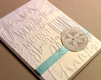 6 Wedding Thank You Cards - Sand Dollar with Pearl, Aqua and Shimmery White, Beach Weddings, Showers, Customize Any Color