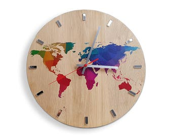 Clocks etsy ie large wall clock oak 13 in world map wall clock wood clock gumiabroncs Gallery