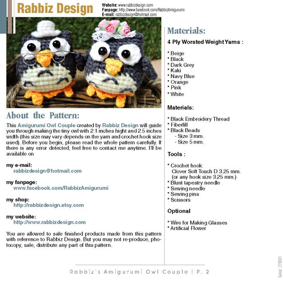 PDF Pattern Amigurumi Owl Couple