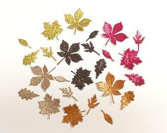 Tiny Glitter Vinyl Autumn Leaves 5 Colors