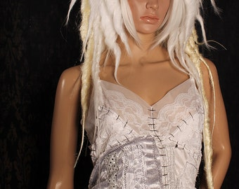 White Blond Vampire Dread Wig, big dread locks, Halloween costume, Gothic, big cosplay hair, Tribal Belly Dance, long platinum dreadlocks