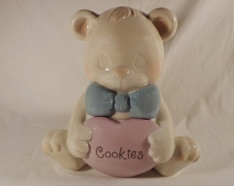 COOKIE JAR ~  Precious Moments Bear, Enesco, 1993, cute bear, bow tie