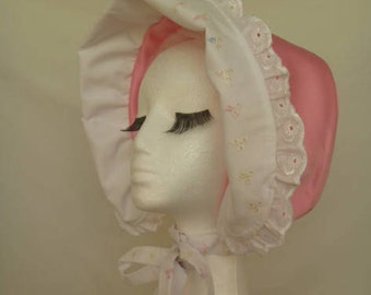 Adult Baby Bo-Peep Satin & Lace Bonnet