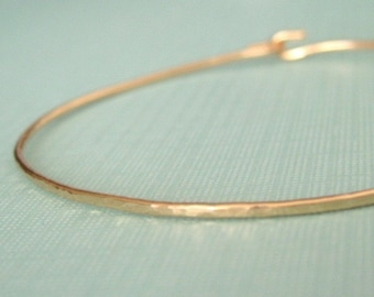 ADD-A-CHARM interchangeable textured delicate skinny bangle bracelet in 14K gold filled wire--one plain bangle, no charm