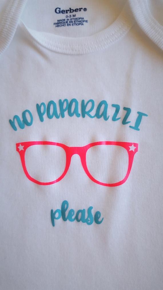 No Paparazzi Please Glasses Baby Bodysuit