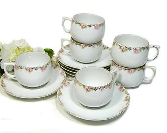 Six Antique MZ Austria Cups and Saucers Rose Garland