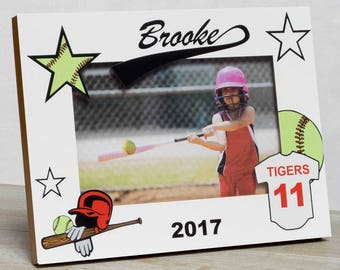 Softball Picture Frame, Personalized Softball Picture Frame, Kids Sports Picture Frame, Kids Softball Frame, Sports Picture Frame, Softball