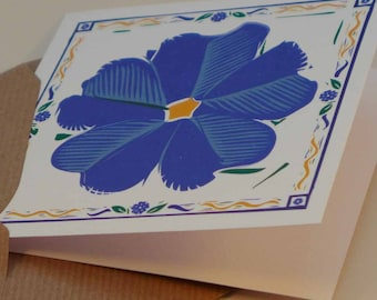 Forget Me Not - blank remembrance card - blue flower in a decorative border - Contribution to Alzheimer's Society with each purchase