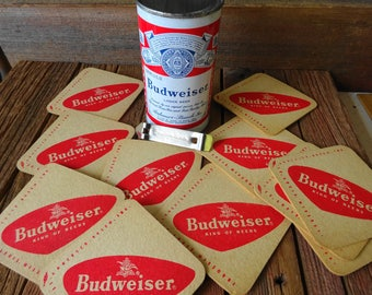 Vintage Manufacture Goof Budweiser Steel Beer Can Plus 11 Coasters Can Opener