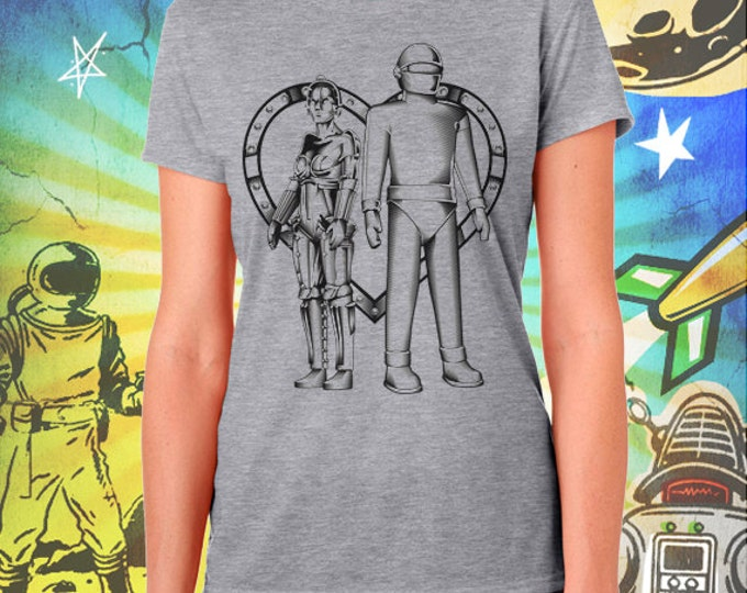 Metropolis / The Day the Earth Stood Still / Maria and Gort Robot Love / Women's Gray Performance T-Shirt
