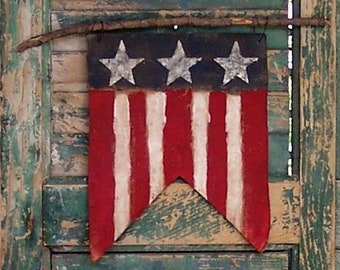 American Flag Pennant, Flag Wall Hanging, Painted Flag Sign, Rustic Home Decor, Americana Farmhouse, Primitive Wall Decor - READY TO SHIP