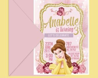 Printable Princess Belle Invitation -  Princess Belle Invite - Beauty and the Beast Invitation - Princess Party - Belle Party - Custom
