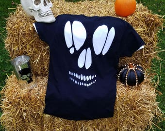 Skull Cut Out T Shirt / Halloween Ripped Skull Tee