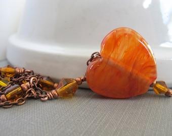 Orange Heart, Heart Necklace, Orange Love Heart, Glass Necklace, Copper Necklace, Copper Chain, Oxidized Copper, Lampwork Glass,
