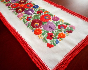 Hand-embroidered small tablecloth with crochetede edge. Authentical Hungarian, Matyo embroidery