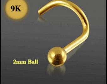 9K Solid Gold – Nose Screw/Stud/Pin 2.0mm Ball
