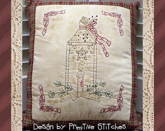 Christmas Lantern-Primitive Stitchery  E-PATTERN by Primitive Stitches-Instant Download