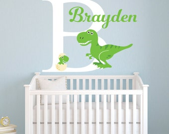 Name Wall Decal - Personalized Dinosaur Wall Decal - Tyrannosaurus Rex Nursery Wall Decal - Kids Boys Wall Decal - T Rex Vinyl Wall Decal