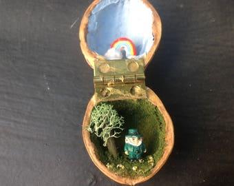 Leprechaun in a Walnut Shell Diorama Folk Art
