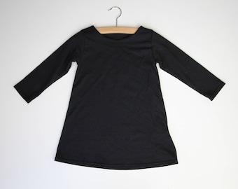Long Sleeve Girls Dress, Baby Dress, Girl Clothes, Long Sleeve Tunic Dress, Black Dress, Birthday Dress, Baby Toddler Girl Long Sleeve Dress