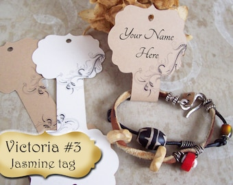 Victoria #3•Jasmine•Hang tags•2x5 inch•NECKLACE HOLDERS•Fold Over Tags•Jewelry card•Necklace Tag•Necklace Holder•Bracelet holder