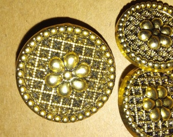 Golden flower buttons. Set of 3. 3/4 inch and 1/4 inch buttons. Vintage golden buttons