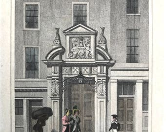 Two original antique prints, Monkwell Street and Thames Street, London, beautifully drawn and subtly hand coloured small print to frame.