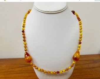 On Sale Vintage Amber Plastic Beaded Necklace Item K # 1004